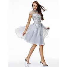 australia cocktail party dress silver a line high neck short knee