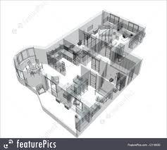 sketch room 3d sketch of a four room apartment image