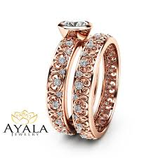 natural engagement rings images 14k rose gold vintage engagement rings natural diamond bezel jpg