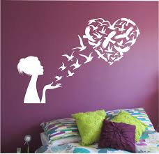 girl blowing birds into heart shape wall decal namaste vinyl girl blowing birds into heart shape wall decal namaste vinyl sticker art decor bedroom design mural home decor room decor trendy mordern