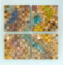 wood wall mosaic wodd set of 4 geometric wall