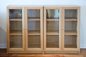 Wooden Bookcase With Glass Doors Bookcase With Doors Ikea Living Room Cintascorner Bookcase With