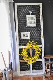 front door with benjamin moore emerald forest and distressed down earth style chicken wire screen door display