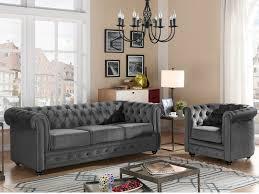 canap chesterfield gris canapé et fauteuil velours 9 coloris chesterfield