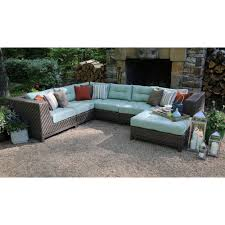 Outdoor Sofa With Chaise Fire Pit Sets Outdoor Lounge Furniture The Home Depot