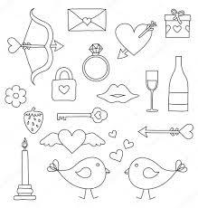 valentine and love drawing isolated set of things u2014 stock vector