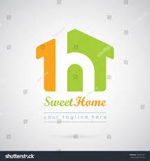 house logo template beautiful house green stock vector 484742791