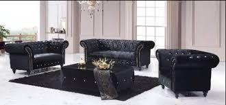 Chesterfield Black Sofa 3 1 1 Chesterfield Boutique Crush Black Velvet Sofa