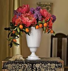 coral peonies hyacinth and kumquats bouquets and centerpieces