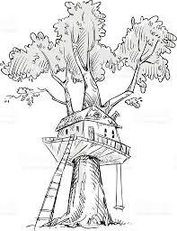treehouse hand drawn vector illustration stock vector art