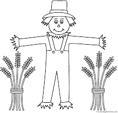 scarecrow with wheat sheaves coloring page thanksgiving