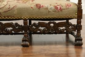sold carved oak french antique hall bench settee or sofa