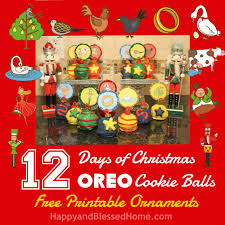 12 days of oreo cookie balls with free printable ornaments