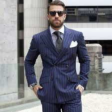 high class suits coat pant designs navy blue breasted pattern men