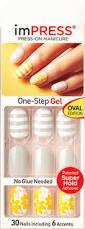 impress oval gel nails yellow stripes u0026 florals dewdrops