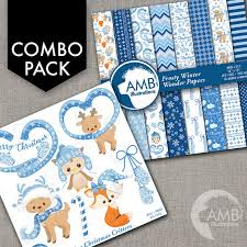 Christmas Decorations For Commercial Use by Combo Christmas Clipart And Digital Papers Blue Forest Animal