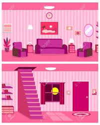 Pink Living Room by Vector Cartoon Continuous Background Of Living Room Interior