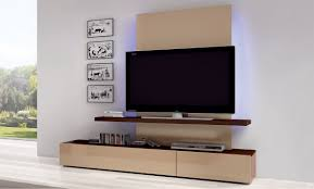 White Laminate Floor Minimalist Wall Mounted Tv Cabinet With Light Brown Color Also