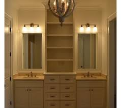 bathroom vanity with linen tower bathroom double vanity with center tower home design plan