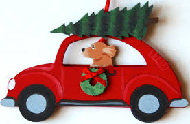 golden retriever hippie red car dog christmas ornaments u2013 for the
