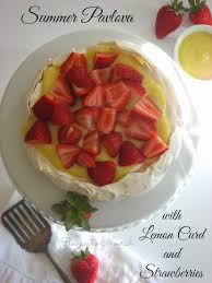 summer pavlova with homemade lemon curd strawberries gluten