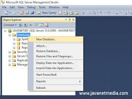membuat database baru di sql server cara membuat database dan tabel sql server jnm javanet media
