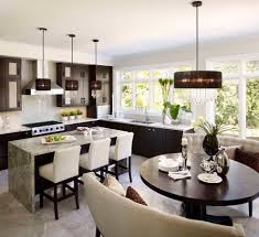 lighting modern kitchen with dining banquette and round table glamorous home interior using eurofase lighting modern kitchen with dining banquette and round table also