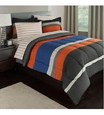 blue and orange bedding amazon com gray orange blue stripes boys teen twin comforter