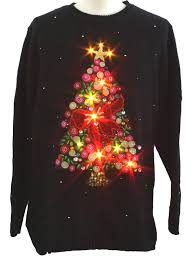 Ugly Christmas Sweater With Lights Lightup Ugly Christmas Sweater Christopher Radko Unisex Black