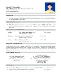 resume sle for chemical engineers salary south bio data resume carbon materialwitness co