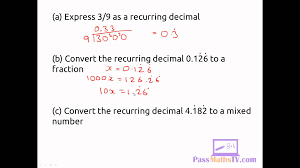 recurring decimals to fractions hd youtube