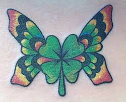 butterfly four leaf clover tattoo design in 2017 real photo