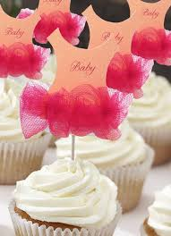 would be very easy to make set of 12 tutu baby shower cupcake