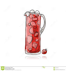 strawberry margarita cartoon strawberry cocktail in jug sketch for your design stock vector