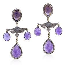 Designer Chandelier Earrings Gold Tanzanite Silver Designer Chandelier Earrings Jewelry
