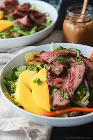 cuisine steak steak salad with spicy peanut dressing easy healthy recipes