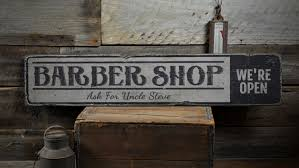 barber shop wood sign custom we u0027re open decor salon