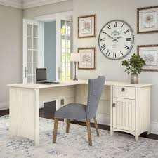 60 Inch L Shaped Desk Salinas L Shaped Desk With Storage In Antique White Free