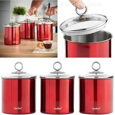 kitchen canister set red stainless steel w glass lid 3 piece sugar