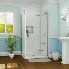 blue bathroom looks more perfect with glass corner shower stall
