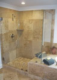 bathroom frameless shower doors combained with tan ceramics wall