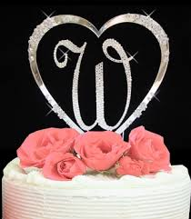 w cake topper heart with initial wedding cake topper