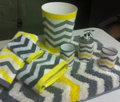 Yellow Bathroom Rug Chevron Neon Yellow Gray White 8 Pc Bathroom Set Bath Towel Rug