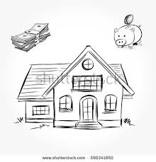 drawing home sketch house architecture drawing free hand stock vector 590341850