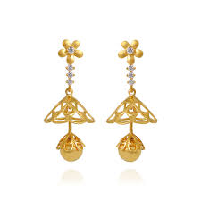 earrings in gold earrings flower chandelier studded gold earrings grt