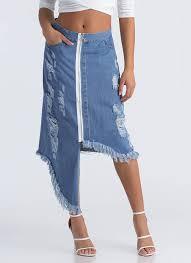denim skirts ring it high low distressed denim skirt blue gojane