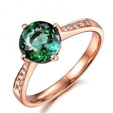 Rose Gold Wedding Rings For Women by Classic 1 Carat Green Emerald And Diamond Rose Gold Engagement
