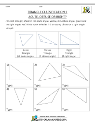 naming triangles worksheet free 4th grade math worksheets triangle classification 1