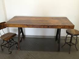 vintage industrial dining table cast iron bakers butcher block