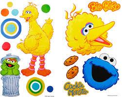sesame street big bird self stick wall accent stickers set